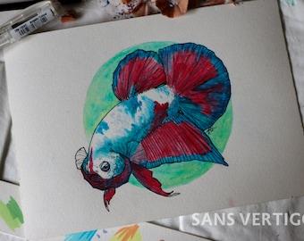 Marble Betta Fish Illustration [original]