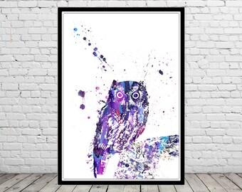 Owl, owl print, bird print, owl, watercolor owl, home decor, watercolor print bird, animal art, bird art, bird (2952b)