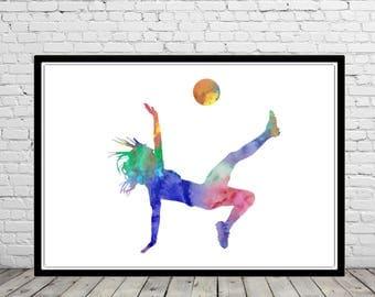 Female Soccer Player, Girls Soccer, Girl Soccer player, sport, Girl Soccer watercolor, watercolor Soccer Player, watercolor sport (2978b)