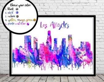 Los Angeles, Los Angeles skyline, Los Angeles California, Office Art, California, watercolor Los Angeles, watercolor City Print (3368-72b)