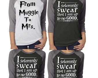 Bride Bridesmaid shirt. Bachelorette Party . 3/4 Sleeve. From Muggle to Mrs.