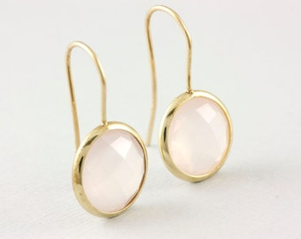 Gemstone Earrings, Gold Gemstone Earrings, Rose Quartz Earrings, Quartz Gold Earrings, Dainty Gold Earrings, Pink Stone Earrings, GE0379