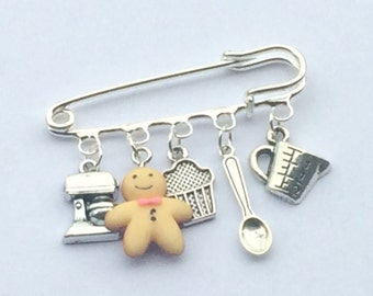 Baking themed brooch/ charm pin/ charm brooch/ gift for a baker