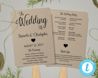 Kraft Paper Program Fan Template, Fan Wedding Program Template, Wedding Fans, Instant Download Printable Program, Ceremony Program