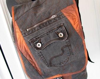 jean backpack, denim backpack,recycled jeans,denim rucksack,jeans backpack,jeans rucksack,patchwork backpack