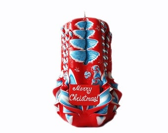 Carved candles as a gift for the new year-Merry Christmas-carved candle-red blue souvenir-carved handmade candles-gifts