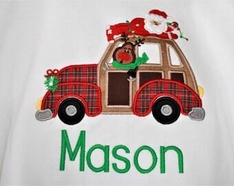 Boys Christmas Applique Shirt, Christmas Car Applique Shirt, Boys Santa Applique Shirt, Boys Reindeer Shirt, Boys Car Shirt, Christmas Shirt