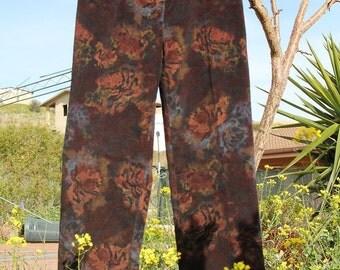 Floral velvet pants/vintage velvet pants//hight waist
