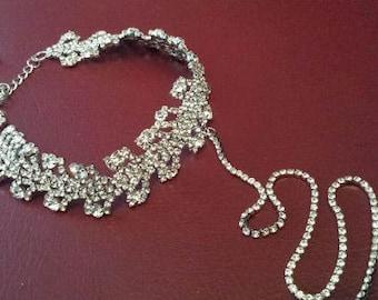 SILVER Rhinestone Choker, Modern Choker Wedding Jewelry (C0315S)