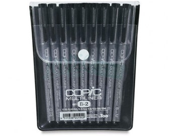 NEW Too Copic Markers 7 Multiliner B-2 Black Inking Lining Pen Set Express Shipping