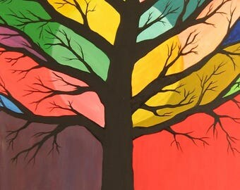 Abstract Tree Painting Stained Glass Tree Colorful Tree Abstract Landscape