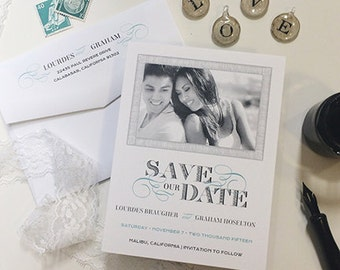 Lovely Swirls Save The Date Card