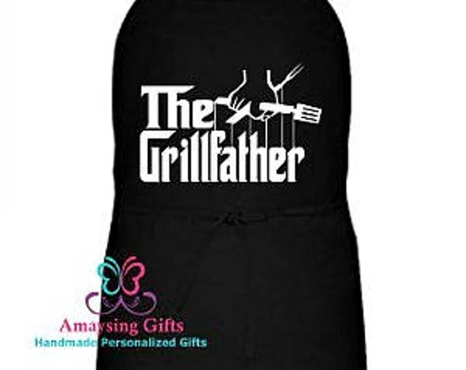 Apron - The GrillFather Apron - Grillfather - The Godfather - Father's Day Gift - Fathers Day - Dad - BBQ - Men's Apron - Aprons For Men