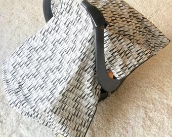 Dapper Ties Canopy Blanket, Black Car Seat Canopy Blankets, Attachable Car Seat Blanket, Infant Car Seat Canopy