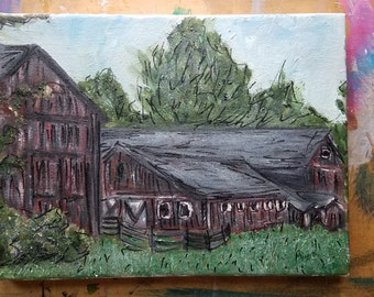 Deerfield Barn oil and marker on canvas, oil paint, nature scene, art, painting Studio Clean Out SALE