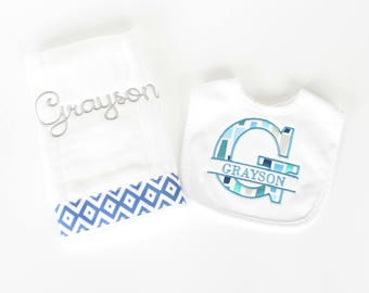 Personalized Burp Cloth and Bib Set, Baby Bib Set, Monogrammed Bib Set, Baby Gift, Other Colors Available