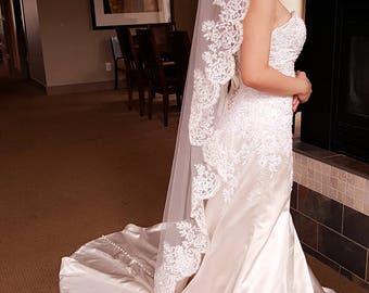 Bridal White/Light ivory Mantilla Lace Veil 1 Tier 1.5 Meter Lace Edge