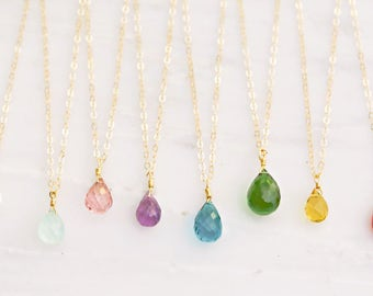 Birthstone Necklace / Gold Filled Teardrop Necklace / Bridesmaid Necklace / Personalized Gift