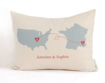 Personalized Map Pillow, Country To Country, State to State, Long Distance Relationship, Graduation Gift, Long Distance Friends