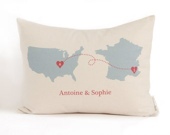 Personalized Map Pillow, Country To Country, State to State, Housewarming Gift, Graduation Gift, Anniversary Gift, Long Distance Friends