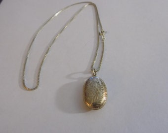 Sterling silver locket and necklace