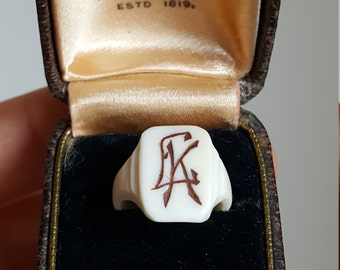 Antique  Art Deco Engraved Celluloid Ring Art Deco Ring Size 3.75 U.S. Pinky Ring Child Ring Initials LK Initials Kl