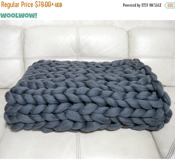 Super chunky blanket giant knitted merino wool throw by for How to make a big chunky knit blanket