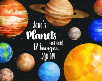 Planets Clipart - Solar System Download - Instant Download - Watercolor Planets Graphics - Mars, Earth, Jupiter, and more!