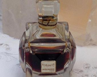 Molinard, Habanita, 15 ml. or 0.5 oz. Flacon, Pure Parfum Extrait, Baccarat, 1920, Paris, France ..