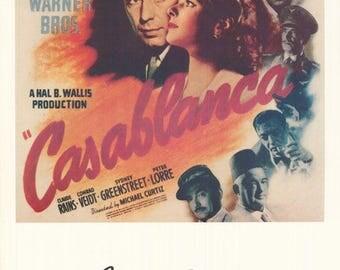 CasaBlanca  Humphrey Bogart Ingrid Bergman Rare Vintage Poster