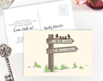 Printed moving announcements with wooden sign post and birds | 4X6 we have moved postcards PRINTED | Change of address cards