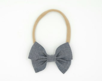 Chambray Pleated Bow // Headband or Clip