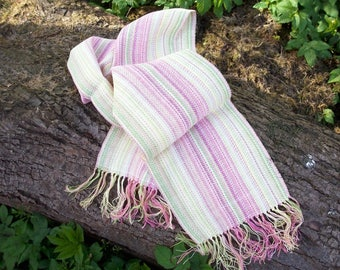 hand-woven Pastel colored scarf, spring summer, pink pink light green light yellow white, with fringes. OOAK