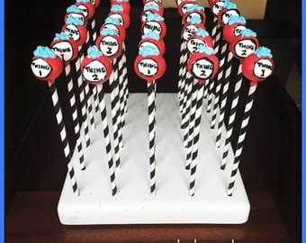 Thing 1 & Thing 2, Dr Seuss Inspired cake pops