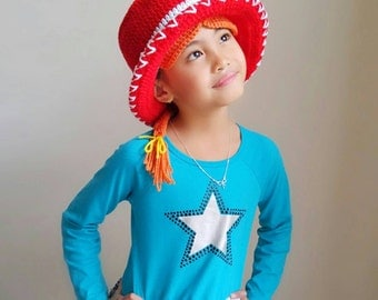 Jessie hat, jessie toy story hat, jessie toy story crochet hat, jessie cowgirl crochet hat, cowboy hat, disney jessie crochet hat,woody hat