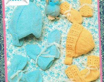 Original Vintage Pretty Baby  Knitting Pattern Bonnet Helmet & Bootees Mitts Lister Lee K1684 Pram Set Baby Boy, Baby Girl, Kitsch RARE