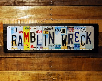RAMBLIN WRECK - Georgia Tech Yellowjackets, Ramblin Wreck license plate sign / graduation gift / Father's Day