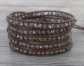 Boho crystal bead bracelet Gypsy crystal wrap bracelet 5 wraps bracelet Leather wrap bracelet Chic bead bracelet Crystal Jewelry SL-0454