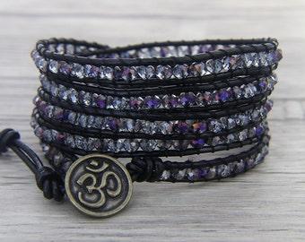 Purple AB crystal bracelet 5 Row Leather wrap Bracelet Wap Bead Bracelet Multi Colors Bracelet Gypsy Beaded Bracelet BOHO Jewelry SL-0453