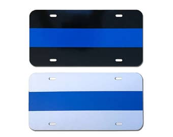 """Reflective """"Blue Line"""" Front License Plate"""
