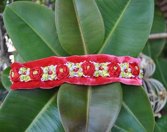 embroidered headband, lace headband, red headband, headband with roses, headband with flower, wedding headband, headband for wedding, tiaras