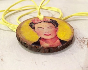 Frida Kahlo Oil on Wood Pendant Necklace with 48 Inch Suede Cord Gift for Art Teacher or Frida Kahlo Fan Ecological Jewelry