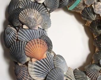"""12"""" Scallop Shell Wreath - Beach Wreath"""