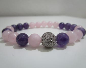 Bracelet Amethyst and Rose Quartz, bracelet with semi-precious stones, bracelet for women, gift, gift for woman, summer, bracelets jewelry