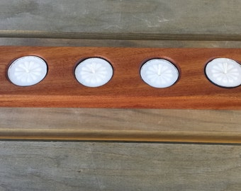 Candle Wooden Tea Light Holder Solid Mahogany Holds Four Tea Light Candles Handmade-Center Piece-Wedding Center Piece Rustic Candle