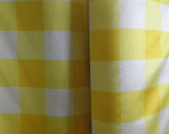 Yellow and White Gingham Plaid Sateen Fabric