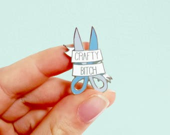 CRAFTY B*TCH hard enamel pin | Lapel pin |  pin badge | Cute lilac blue scissors | bright pastel | arts and crafts | Stocking Fillers