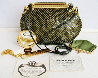 Authentic Judith Leiber Couture Vintage 1960's Gorgeous Green Snakeskin Convertible Clutch / Evening Bag with Hinged Gold Frame