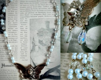 Art nouveau pearl fairy necklace in antique bronze with iridescent glass beads