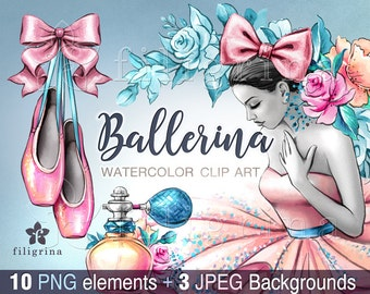 BALLERINA Clip Art. 10 elements, Peach Mint wedding flowers, Pink Blue tutu skirt, party invitation, ballet shoes, planner stickers, decals
